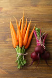 Bunches of carrots and beets Royalty Free Stock Images
