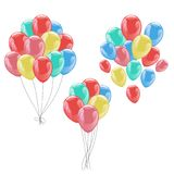 Bunches of colorful helium balloons isolated on white Stock Photography