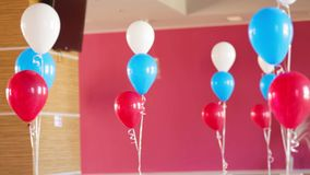 Bunches Of Colourful Balloons Decorating Room stock video