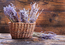 Bunches of dried lavender in backet Royalty Free Stock Photos