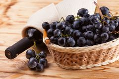 Bunches of fresh ripe blue grapes in wicker basket on piece of sackcloth on a wooden textured backdrop. Beautiful background with stock images