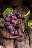 Bunches of fresh ripe red grapes on a wooden textural background.  Royalty Free Stock Photos