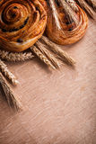 Bunches of golden wheat ears raisin bakery on Royalty Free Stock Image