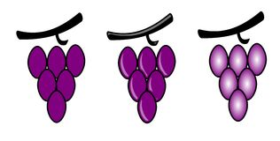 Bunches of grapes. Illustration representing a stylized bunch of grapes, in three versions, usable as logo (for example royalty free illustration