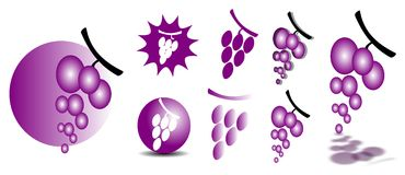 Bunches of grapes. Illustration representing some examples of bunches of grapes, usable as logo (for example royalty free illustration