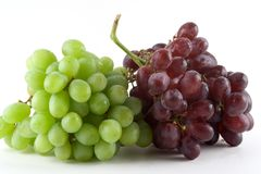 Bunches of Grapes. Green and red grapes Stock Images