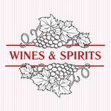 Bunches of grapes. Elegant wine list or decorative element for a. Lcohol drinks design. Wine, cognac, spirits logo template Stock Image