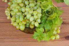 Bunches of green grapes in a Cup. Bunches of grapes in a bowl on the table royalty free stock photography