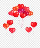 Bunches and groups of colorful helium balloons isolated on transparent background. Hearts air balloons. Vector holiday illustration set clip art of soaring stock illustration