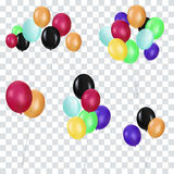 Bunches and groups of colorful helium balloons isolated on transparent background. Party elements  illustration Stock Photos