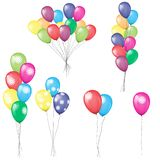 Bunches and groups of colorful helium balloons isolated. Illustrated vector. stock illustration