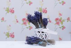 Lavender flowers in a wicker basket Stock Photos