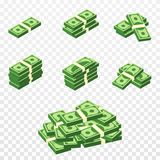 Bunches of money in cartoon 3d style. Set of different packs of dollar bills. Isometric green dollars royalty free illustration