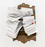 Bunches of old bills and accounts  in dusty original envelopes Royalty Free Stock Photo
