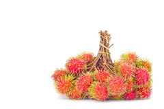 Bunches of rambutan sweet delicious on white background healthy rambutan tropical fruit food isolated Royalty Free Stock Images