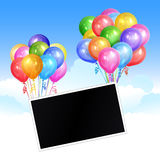 Bunches of realistic colorful helium balloons and photo template. On sky background. Party decorations for birthday, anniversary, celebration. Vector Stock Images