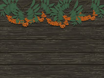 Bunches of Rowan on the background of wooden texture. Vector illustration Royalty Free Stock Photo