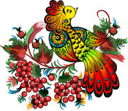Bunches of rowan and fabulous bird Royalty Free Stock Image