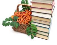 Bunches of rowan in a wicker basket and a stack of books on a wh Stock Photo
