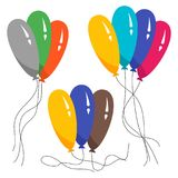 Bunches of several colour helium balloons. Vector illustration Stock Photography