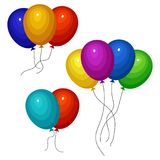 Bunches of several colour helium balloons. Vector illustration Royalty Free Stock Photo
