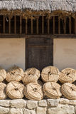Bunches of straw rope Stock Photo