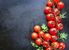 2 bunchs томатов вишни Скопируйте предпосылку космоса Стоковое фото RF