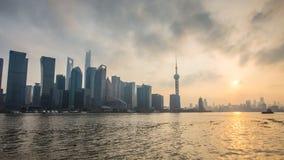 Bund Шанхай на заходе солнца Стоковое Фото