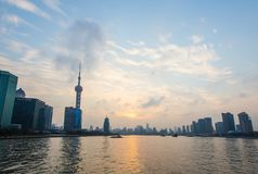 Bund Шанхай на заходе солнца Стоковое Изображение RF