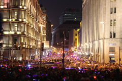 The bund across the eve of the crowd. On December 31, 2014, 23 at 35, when across the eve of the activity, because many tourists had gathered in Shanghai on the Royalty Free Stock Photo