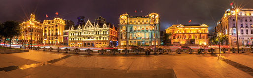 The bund of buildings. All nations buildings of Shanghai bund, night view is very gorgeous Royalty Free Stock Photo