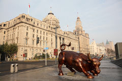 The Bund Bull in Shanghai stock photos