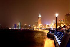 The Bund district along Huangpu River in Shanghai Stock Photos