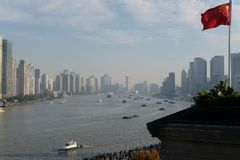 The Bund. Elevated view of The Bund on the Huangpu River in Shanghai, China Royalty Free Stock Photo