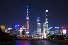 Night scene in the Bund, Shanghai. The Bund English: The Bund, located on the Bank of the Huangpu River in Huangpu District in the center of Shanghai, the outer Stock Image