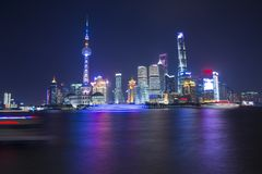 Night scene in the Bund, Shanghai. The Bund English: The Bund, located on the Bank of the Huangpu River in Huangpu District in the center of Shanghai, the outer Royalty Free Stock Image