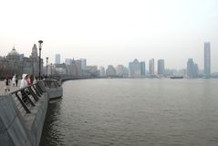 The Bund of Shanghai. The Bund, a historical road in city center of Shanghai, China Royalty Free Stock Photo