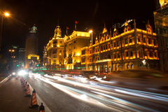 The bund light trails stock images