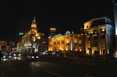 Bund at Night. The old colonial buildings on the Bund, Shanghai, China stock image