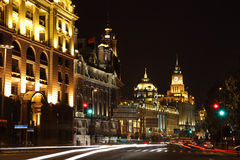 The Bund at night, Shanghai stock photos