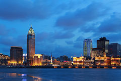 bund noc Shanghai widok Obrazy Royalty Free