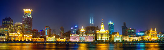 The Bund panorama. At night, Shanghai, China Royalty Free Stock Photography
