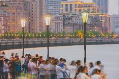 Bund przy nocą, Szanghaj, Chiny Obrazy Royalty Free