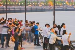 Bund przy nocą, Szanghaj, Chiny Zdjęcie Stock