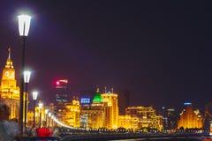 Bund przy nocą, Szanghaj, Chiny Obraz Stock