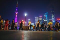 Bund przy nocą, Szanghaj, Chiny Zdjęcie Royalty Free