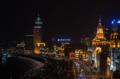 Bund przy nocy Shanghai porcelaną Obrazy Stock