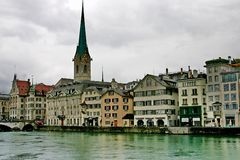 The bund of river Limmat Stock Image