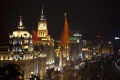 bund samochodów porcelana zaznacza noc Shanghai Obrazy Stock