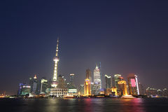 The Bund in Shanghai. At Night Stock Photo